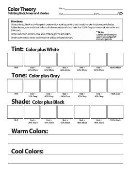 Creating Color Wheel Easy Activity plus Bonus Tint, Tone, Shade...