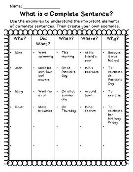 Creating Complete Sentences