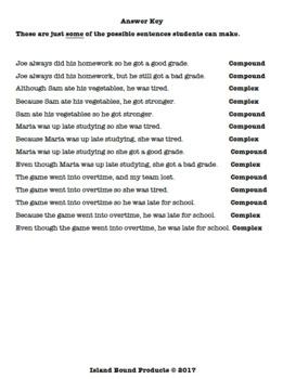Creating Compound & Complex Sentences