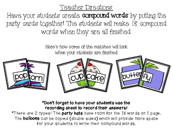 Creating Compound Words {birthday themed matching activity}