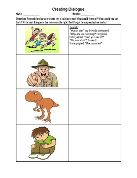 Creating Dialogue Worksheet