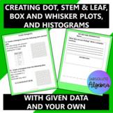 Creating Dot, Box, Stem & Leaf Plots, and Histograms