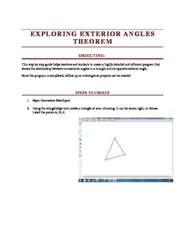 Creating Dynamic Constructions - Triangle Exterior Angles Theorem
