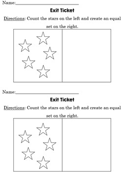 Creating Equal Sets Exit Ticket - Black and White