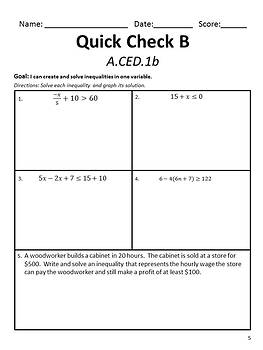 Equations and Inequalities Quick Checks for A.CED.1