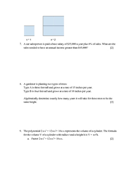 Creating Equations in One Variable Test