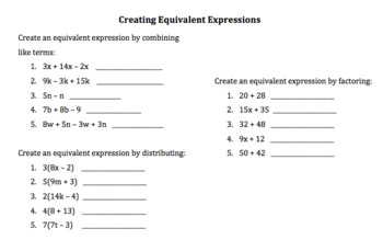 Creating Equivalent Expressions