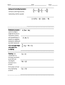 Creating Equivalent Expressions Guided Notes