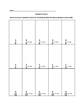 Creating Equivalent Fractions using Models Practice