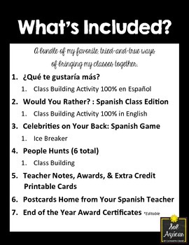 Creating GOOD VIBES in Middle & High School Spanish Class Resource Bundle