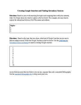 Creating Google Searches and Finding Secondary Sources