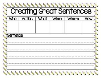 Creating Great Sentences Charts