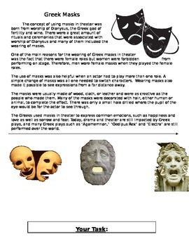 Creating Greek Masks Project