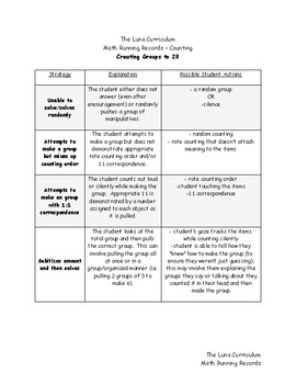 Creating Groups to 20 - Math Running Record