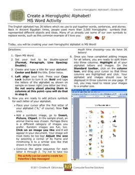 Creating Hieroglyphic Alphabets--MS Word Activity for Grades 4-8