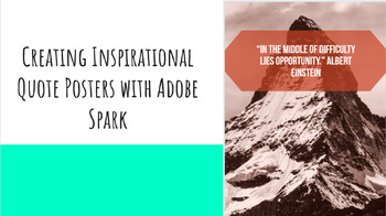 Creating Inspirational Quote Posters with Adobe Spark - Great for Chromebooks