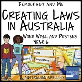 Creating Laws in Australia Word Wall and Posters (Year 6 HASS)
