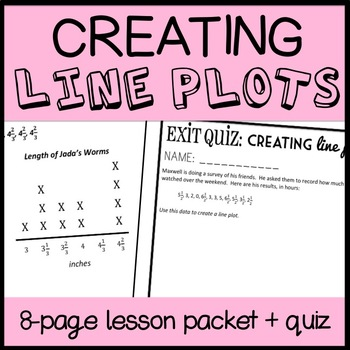 Creating Line Plots, 8 page Lesson Packet and Quiz, 4th-5th Grade Measurement