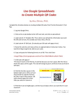 Creating Multiple QR Codes with Google Sheets