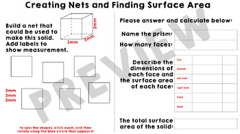 Creating Nets to Find Surface Area of Prisms Google Slides Activity