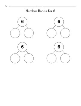 Math Worksheets: Creating Number Bonds- One Number Per Page