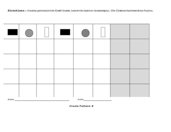 Creating Patterns with Shapes and Numbers: Differentiated Worksheets