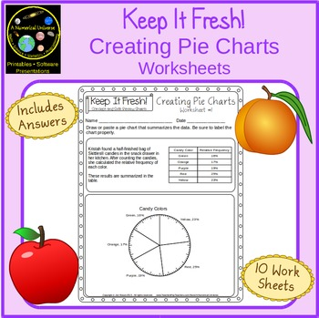 Pie and Circle Charts Worksheets with Story Problems