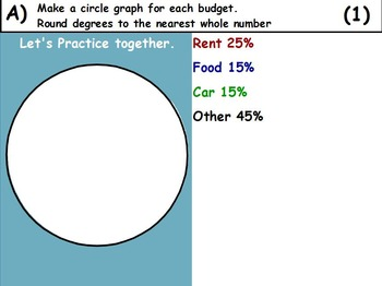 Using Percents - Creating Pie Graphs Math (worksheet included) (SMART BOARD)
