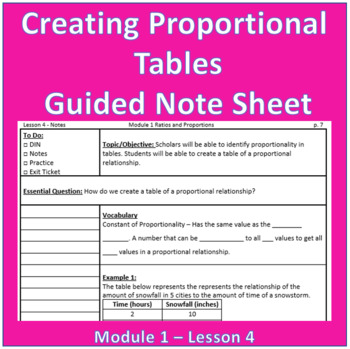 Creating Proportional Tables Guided Note Sheet
