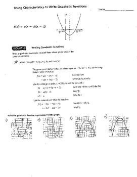 Creating Quadratic & Cubic Functions Equation using graph characteristics