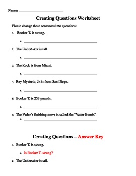 Creating Questions WWE Worksheet by Pediatric Communication ...