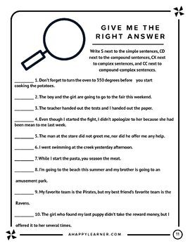 Creating Sentences: Worksheets for Sentence Types & Creating Sentences