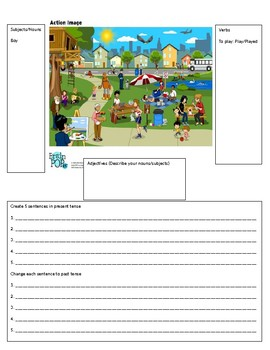 Creating Sentences with Pictures Present Tense and Past Tense EL