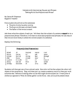 Subject verb object teaching resources teachers pay teachers creating sentences with prepositional phrases between subject and verb ibookread PDF