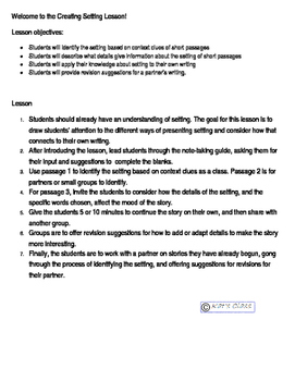 Creating Setting Lesson