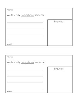 Grammar- Creating Silly Homophone Sentences