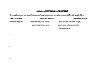 Sentence Variety: Simple, Compound, Complex Sentences