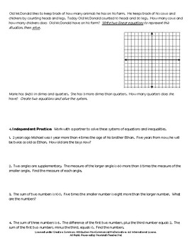 Creating & Solving Equations: Including Systems of Equations & Inequalities