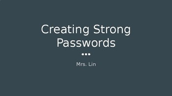 Creating Strong Passwords (grades 2-4)