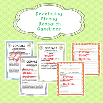Creating Strong Research Questions Handout and Checklist: FREE  Sample
