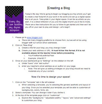 Creating Student Blogs Using Blogger