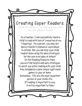 Creating Super Readers: A Parent's Resource