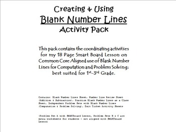 Creating & Using Blank Number Lines Activity Pack (CCLS Aligned, 2nd Grade)