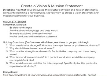 Creating Vision and Mission Statements