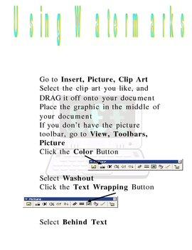 Creating Watermarks or Washouts in Word