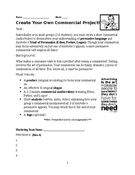 Creating Your Own Commercial Project (Aristotle's Rhetorical Appeals)