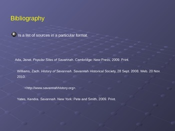 Power point: Creating a Bibliography