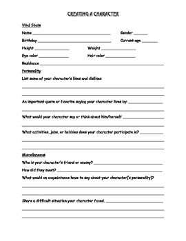 Creating a Character worksheet