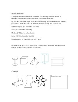 Creating a Clay Reliquary Planning Work sheet