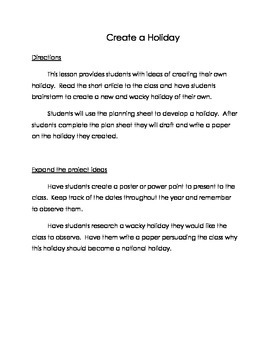 Creating a Holiday- Narrative Writing Prompt and Project